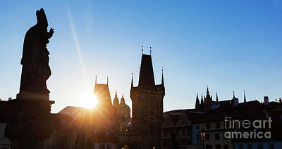 Charles Bridge At Sunrise, Prague, Czech Republic. Statues And Towers Silhouettes Poster by Michal Bednarek