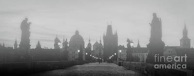 Charles Bridge In Fog At Sunrise, Prague, Czech Republic. Dramatic Statues And Medieval Towers. Poster by Michal Bednarek