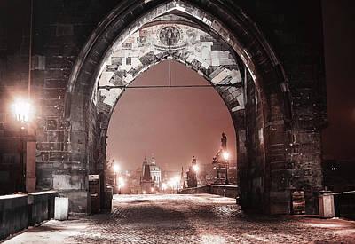 Charles Bridge In Winter. Prague Poster by Jenny Rainbow
