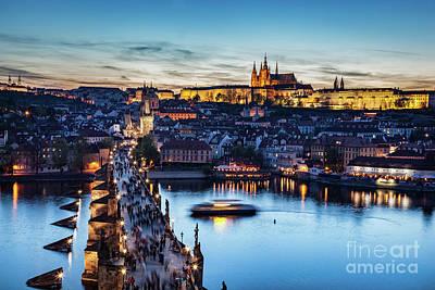 Charles Bridge On Vltava River In Prague, Czech Republic At Late Sunset, Night. Prague Castle Poster by Michal Bednarek