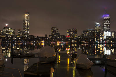 Charles River Rainy Night Clear Reflection Pier Poster