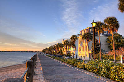 Charleston East Battery Row Sunrise Poster
