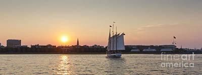 Charleston Harbor Sunset Schooner Poster by Dustin K Ryan