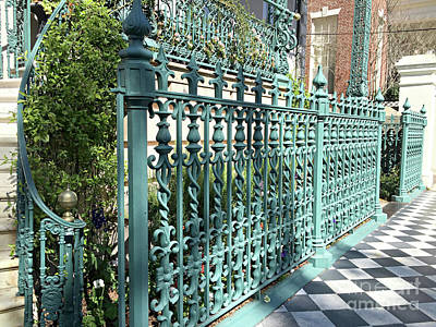 Poster featuring the photograph Charleston Historical John Rutledge House Fleur Des Lis Aqua Teal Gate Fence Architecture  by Kathy Fornal