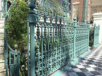 Charleston Historical John Rutledge House Fleur Des Lis Aqua Teal Gate Fence Architecture  Poster by Kathy Fornal
