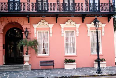 Charleston Mills House Coral Black White Architecture - Charleston Historical Homes Poster