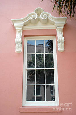 Charleston Pink Coral White Architecture - Charleston Historical District Architecture - Mills House Poster by Kathy Fornal