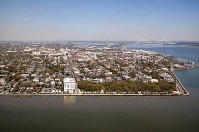 Charleston South Carolina Battery Waterfront Aerial Poster