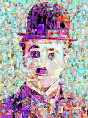Charlie Chaplin The Tramp In Abstract Cubism 20170403 Poster by Wingsdomain Art and Photography