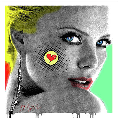Charlize Theron, Pop Art, Portrait, Contemporary Art On Canvas, Famous Celebrities Poster