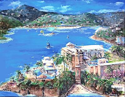 Charlotte Amalie Marriott Frenchmans Beach Resort St. Thomas Us Virgin Island Aerial Poster by Bernadette Krupa