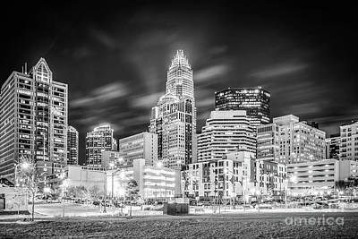Charlotte Cityscape Black And White Photo Poster by Paul Velgos