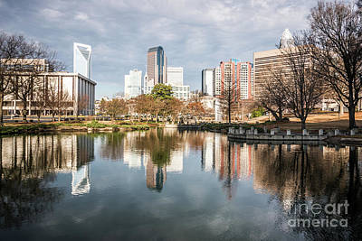 Charlotte Cityscape Reflection On Marshall Park Pond Poster by Paul Velgos