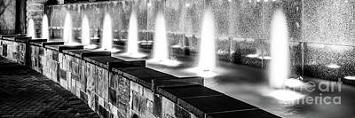 Charlotte Fountain Black And White Panorama Photo Poster