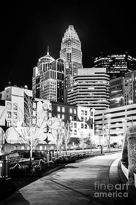 Charlotte Nc At Night Black And White Photo Poster by Paul Velgos
