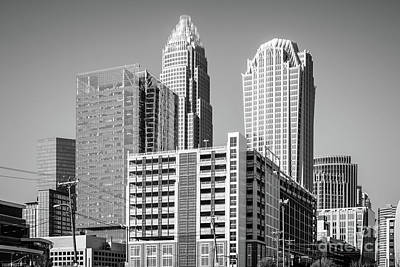 Charlotte North Carolina Black And White Photo Poster by Paul Velgos