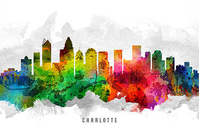 Charlotte North Carolina Cityscape 12 Poster