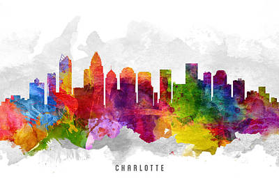 Charlotte North Carolina Cityscape 13 Poster by Aged Pixel