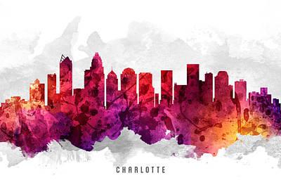 Charlotte North Carolina Cityscape 14 Poster