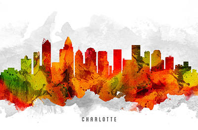Charlotte North Carolina Cityscape 15 Poster