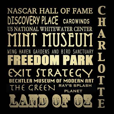 Charlotte North Carolina Famous Landmarks Poster