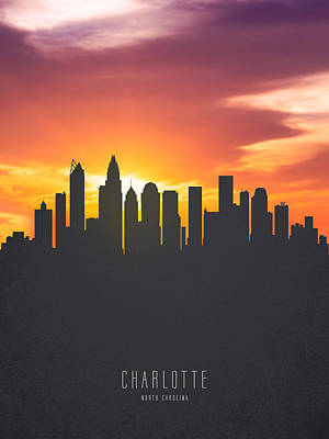 Charlotte North Carolina Sunset Skyline Poster