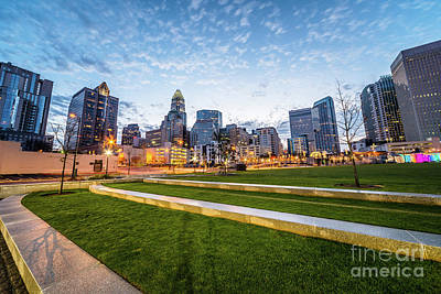 Charlotte Skyline And Bearden Park At Dusk Poster by Paul Velgos