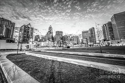 Charlotte Skyline And Bearden Park Black And White Photo Poster by Paul Velgos