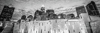 Charlotte Skyline Bearden Park Black And White Panorama Poster by Paul Velgos