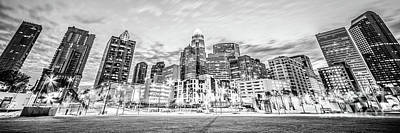 Charlotte Skyline Black And White Panorama Photo Poster by Paul Velgos