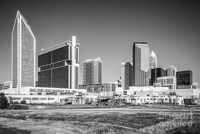 Charlotte Skyline Black And White Picture Poster by Paul Velgos