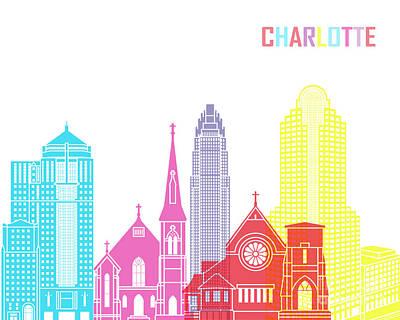 Charlotte Skyline Pop Poster