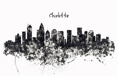 Charlotte Watercolor Skyline Black And White Poster by Marian Voicu