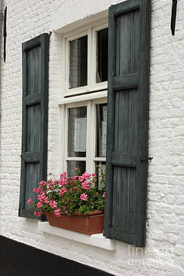 Charming Dutch Window With Geraniums Poster by Carol Groenen