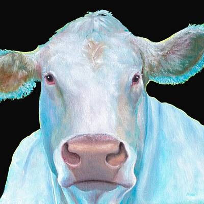 Charolais Cow Painting On Black Background Poster by Jan Matson