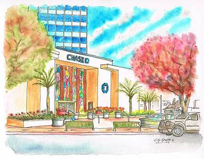 Chase Bank In Hollywood - California Poster by Carlos G Groppa