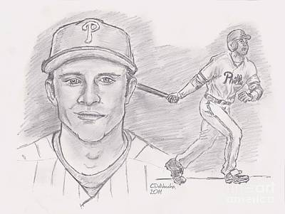 Poster featuring the drawing Chase Utley  by Chris  DelVecchio