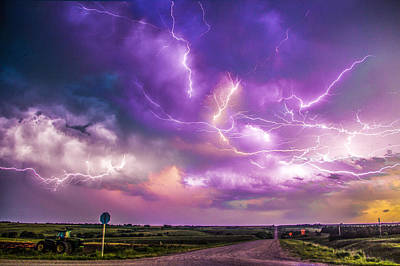 Poster featuring the photograph Chasing Nebraska Lightning 056 by NebraskaSC