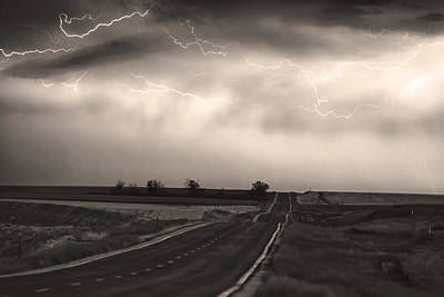Chasing The Storm - County Rd 95 And Highway 52 - Co- Sepia Poster