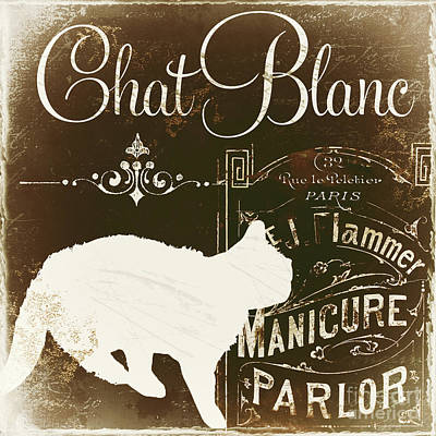 Chat Blanc Poster by Mindy Sommers