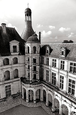 Chateau De Chambord Courtyard And Staircase  Poster by Olivier Le Queinec