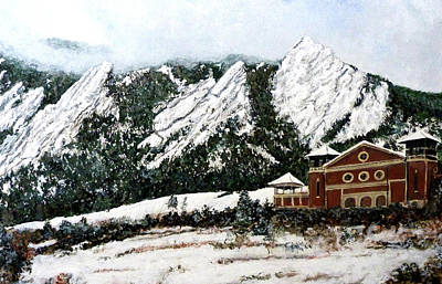 Poster featuring the painting Chautauqua - Winter, Late Afternoon by Tom Roderick