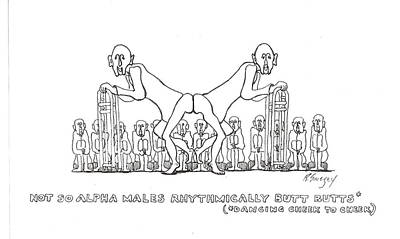 Poster featuring the drawing Cheek To Cheek by R  Allen Swezey