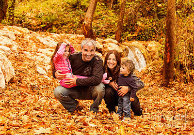 Cheerful Family In Autumn Woods Poster