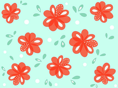Cheerful Red Flowers Poster