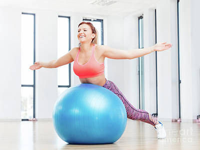 Cheerful Woman Training With Fitball At Fitness Club. Poster