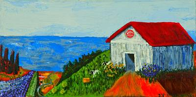 Poster featuring the painting Cheerwine Barn by Angela Annas