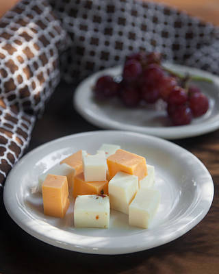 Cheese Plate With Red Seedless Grapes Poster by Erin Cadigan