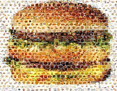 Cheeseburger Fast Food Mosaic Poster