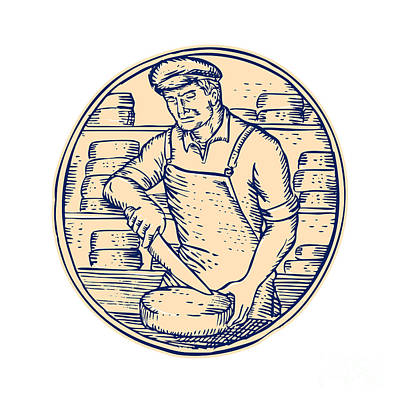 Cheesemaker Cutting Cheddar Cheese Etching Poster by Aloysius Patrimonio